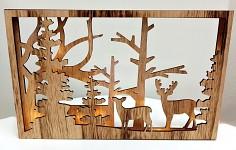 Dřevěný rám - jeleni v lese - svítící