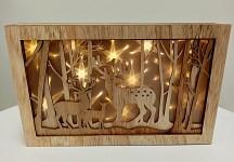 Dřevěný obraz - jelení rodinka - svítící