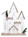 Dřevěný kostel svítící - 42x29 cm