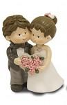 Figurka svatební se srdcem z růží