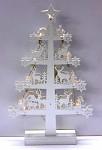 Dřevěný stromeček bílý s jeleny - svítící
