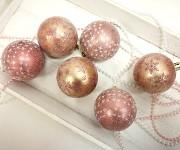 Baňky třpytivé růžovozlaté 6ks - malé