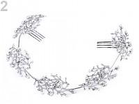 Štrasová ozdoba (čelenka) do vlasů s perlami