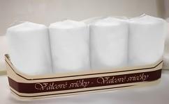 Adventní svíce  - bílé metalické matné ledové