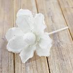 Květ čemeřice  - zápich - bílý glitr