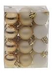 Baňky zlaté plastové 3 cm  - 24 ks