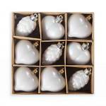 Baňky plast srdíčka - 4ks - bílá glitr