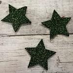 Hvězda textilní - tm.zelená - 4 cm