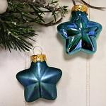 Baňka hvězdička mini - 4 cm- šalvějově zelená