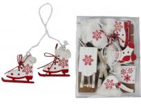 Dřevěné zimní dekorace bílo-červené - 10 ks
