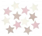 Hvězdy dřevěné  bílo-růžové plné - 12 ks