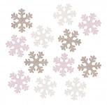 Vločky dřevěné  bílo-růžové - 12 ks
