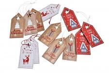 Vánočníí visačky na dárky dřevěné -červenobílé - mix - 1ks