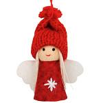 Anděl s pletenou čepicí 8 cm - červeno-bílý
