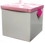 Dárková krabice skládací - bílo-růžová - 30cm