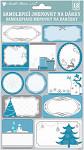 Samolepicí jmenovky na dárky - modro-stříbrné - 15 ks