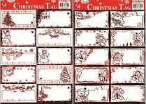 Samolepicí jmenovky na dárky - červené - 10 ks