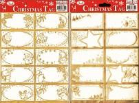 Samolepicí jmenovky na dárky - zlaté - 10 ks