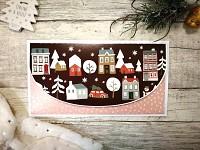 Vánoční obálka na peníze - domečky