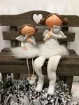 Andělka se sovičkou sedící - bílá
