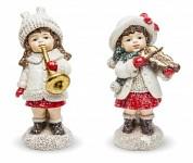 Dívka zimy s trumpetou 9 cm - bílo-červená - 1ks