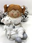 Andělka sedící s medvídkem - šedá