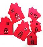 Dřevěné domečky červené - mix velikostí - 6 ks
