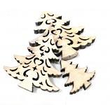 Dřevěné stromečky vyřezávané  3ks - natur