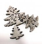 Dřevěné stromečky vyřezávané  3ks - šedé