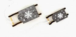 Sáňky dřevěné bílé s pletením - 46 cm