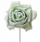Růže pěnová zasněžená zápich - mátová - 2ks
