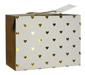 Dárková krabička s uchy - zlatá srdíčka - velká
