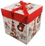 Dárková vánoční krabice s mašlí - bílo-červená střední