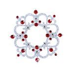 Nalepovací šperk na tělo a vlasy Swarovski  - stříbrný-červený ornament