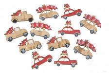 Dřevěné ozdoby - autíčka - 6ks