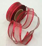 Stuha lemovaná s drátem a lurexem - červená - 25mm/1m