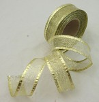 Stuha lemovaná s drátem a lurexem - zlatá - 25mm/1m