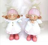 Andělka s čepicí - malá - bílo-růžová glitr