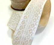 Stuha látková s bílou krajkou - krémová - 4,5 m