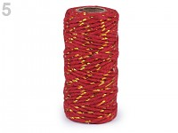 Bavlněný provázek s lurexem - červeno-zlatý