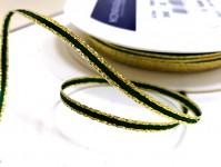 Atlasová stuha 3mm - zelenozlatá - 1m