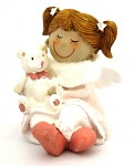 Andělka sedící s medvídkem- růžová