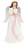 Anděl s růžovou mašlí zasněný - 8 cm