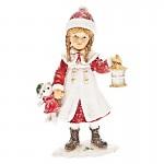 Dívka zimy stojící - červeno-bílá