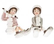 Děti zimy - se sněžnicemi sedící - růžovo-stříbrný mix