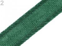 Jutová stuha 35mm - tm.zelená - 1m