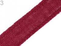 Jutová stuha 35mm - tm.červená - 1m