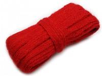 Jutová stuha 11mm - červená - 5 m