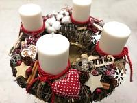 Adventní věnec se svíčkami - hnědočervený