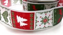 Stuha látková vánoční motiv - zeleno-červená - 40mm - 1m
